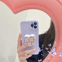 Purple with daisy check grip iphone case