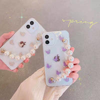 Butterfly glitter pearl strap iphone case