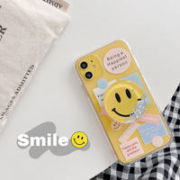 Letter scrap clear with smile grip iphone case