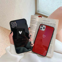 One heart black red iphone case
