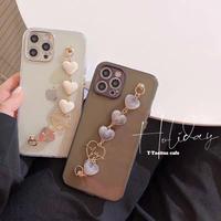 White black heart strap iphone case