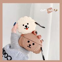 White brown dog airpods case