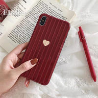Beige heart red suitcase pattern iphone case