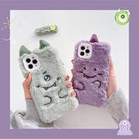 Purple green monster fur iphone case