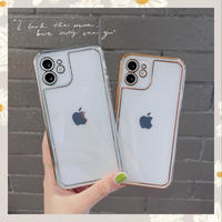 Silver gold line clear iphone case