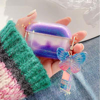 Purple butterfly quicksand airpods case