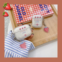 Strawberry milk clear keyring airpods case