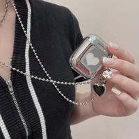 Love black pendant silver airpods case