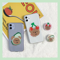 Avocado cherry bear with grip iphone case