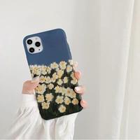 White flower navy iphone case