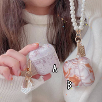 Marble pearl strap airpods case