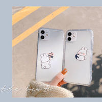 Rabbit hug drawing clear iphone case
