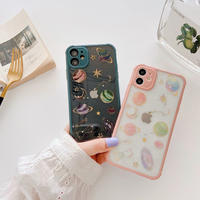 Universe pink green color side iphone case