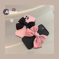Big ribbon pink black iphone case