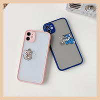 Mouse cat pink blue color side iphone case