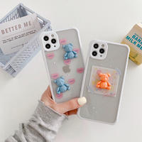 Bear orange blue glitter iphone case