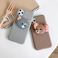 Mouse cat brown grey with big grip iphone case
