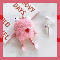 Frog  pink fur airpods case