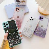 Purple mint pink clear glitter iphone case