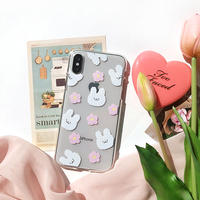 Cotton rabbit clear with grip iphone case