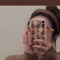 Gold ribbon brown check iphone case