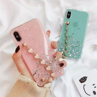 Heart strap pink mint iphone case