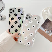 Flower white black hologram iphone case