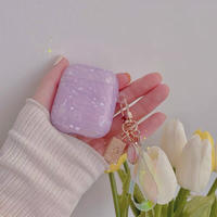 Purple marble strap airpods case