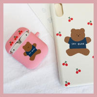 Jumping cherry bear airpods case(Blue) 215