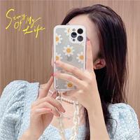 Smile flower white  strap iphone case