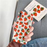Beige strawberry iphone case