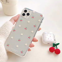 Petite cherry flower clear iphone case