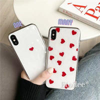 Red heart silver side iphone case