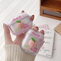 Peach glitter quicksand airpods case