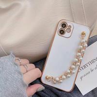 White pearl strap iphone case