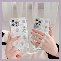 Purple flower mirror strap iphone case