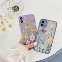 Flower drawing purple bluegrey color side iphone case