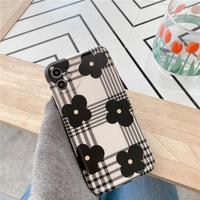 Black flower check iphone case