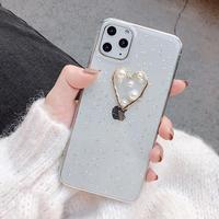 Pearl heart glitter iphone case
