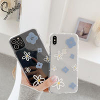 Blue white daisy clear iphone case