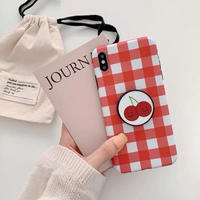 Red check with cherry grip iphone case