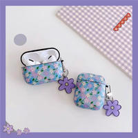 Purple flower check airpods case