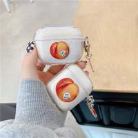 Peach clear strap airpods case