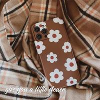 Brown white flower iphone case