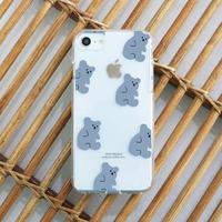 Honey bear pattern clear case (blue) 440
