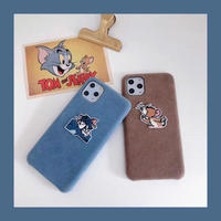 Mouse cat brown blue fabric  iphone case