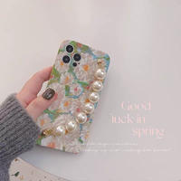 Flower pearl strap iphone case