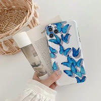 Blue butterfly white iphone case