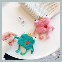Frog green pink fur airpods case