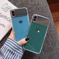 Blue green heart mirror iphone case